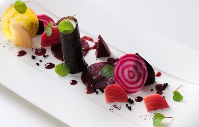 Goat's cheese, roasted beetroot and a black olive tuile - Alan Murchison