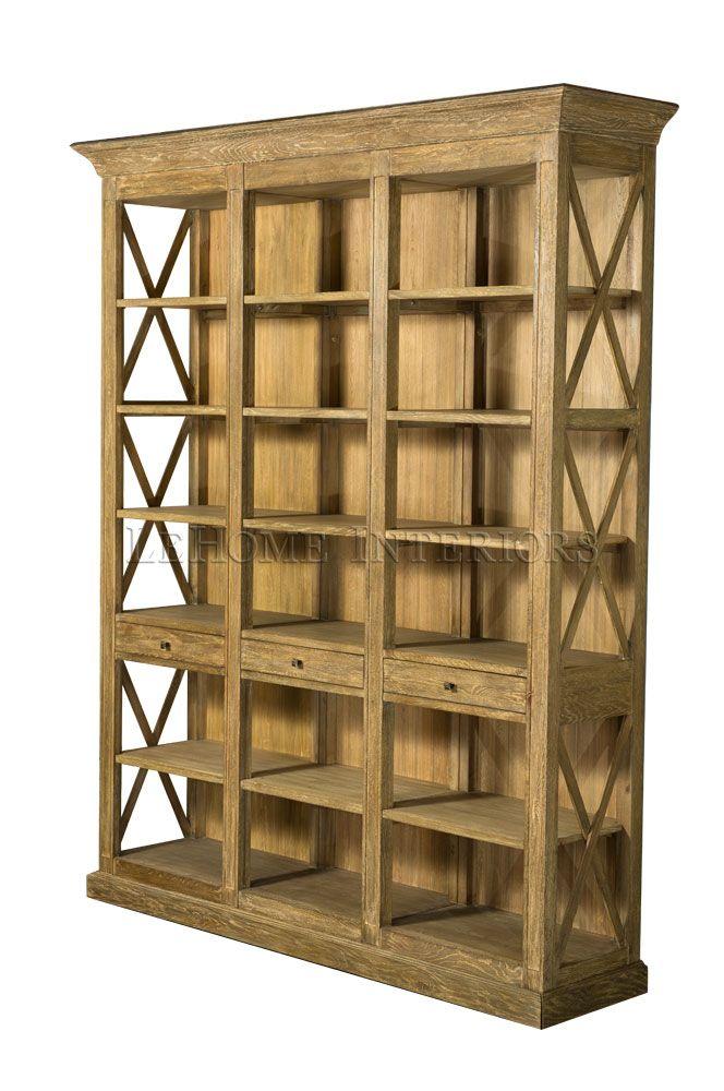 Библиотека Barton Oak Bookcase. Открытая библиотека с 3-мя выдвижными ящиками, боковые панели декорированы пересекающимися направляющими. Каркас массив дуба.