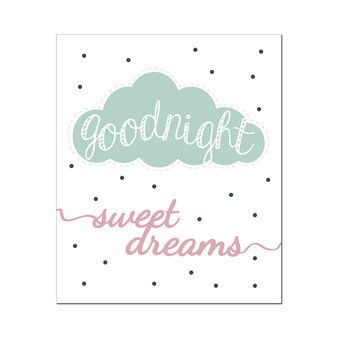 Poster Goodnight-Mintgroen - Wanddecoratie