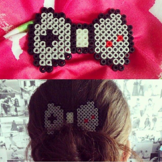 Gameboy hair bow hama beads by Shannon Millar