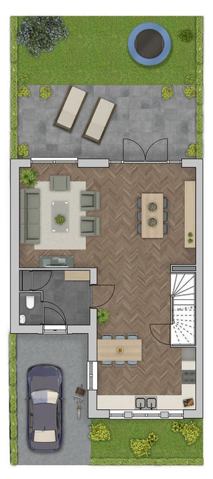 Mooie plattegrond met zithoek aan de achterzijde van het huis en openslaande deuren bij de 'bezoektafel'. In die hoek staat een mooi bureau ook goed. Bankhoek wel iets breder maken.   Keuken is hier bijzaak. Mooi dat de wasbak voor het raam zit, voor het landelijke gevoel.   Voordeel: auto krijgt zo ook een logische plek als je de garage pas later wilt bouwen.  Leuk om dak van slaapkamer (boven voordeur) gewoon open te laten, zodat je een zolderkamergevoel krijgt.  Hoort bij dewaalsprong.nl