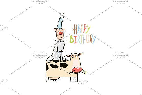 Birthday Cartoon Farm Animals Card