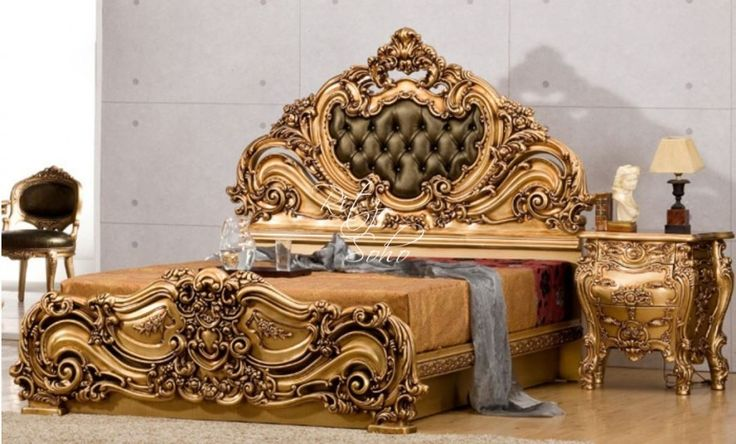 French Rococo Bed Upholstered Bedroom Furniture Bed