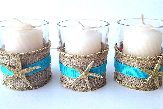 Set of 6 beach wedding votive-with burlap with gold trim and ribbon of your choice with real starfish painted gold on Etsy, $20.00