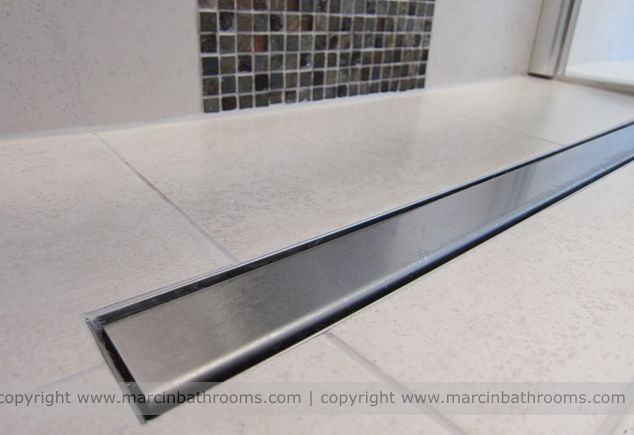 Impey linear wet room drain in small bathroom shower