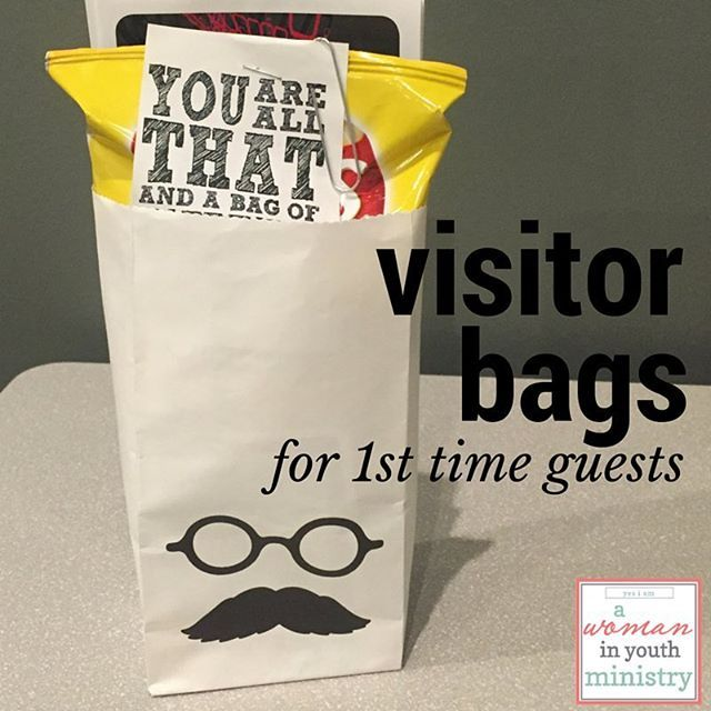 What do you give first time visitors in your student ministry? http://youthleadergina.blogspot.com/2016/02/visitor-bags-for-student-ministry.html