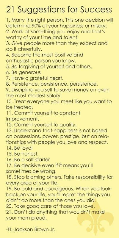 21 sugestions for SUCCESS