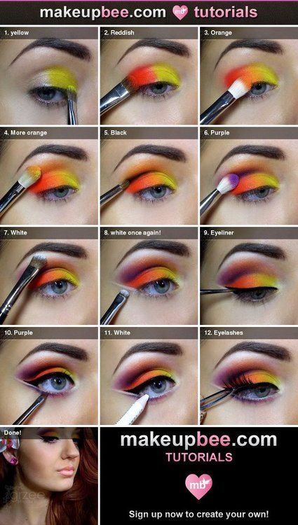bright eye makeup step by step tutorial- I don't think I could ever pull this off but I'll repin it just in case!