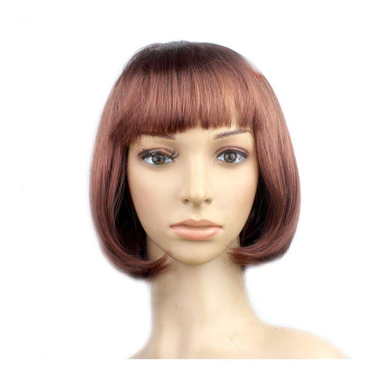 Women's Sexy Short Bob Cut Fancy Dress Wigs Play Costume Ladies Full Wig Party Brown
