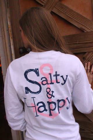 Salty Girl Designs - White, Salty and Happy Long Sleeve Tee