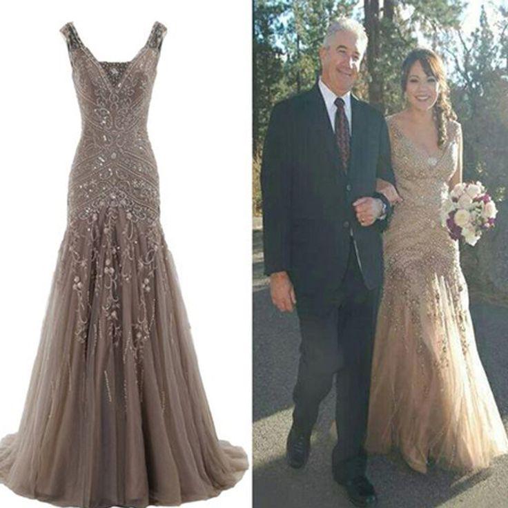 Popular Stunning V-neck Lace up Rhinestone Mermaid Bridal Gown, Wedding Dresses, WD0057