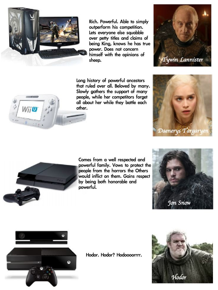 Ahaha, the truth. If the next-gen consoles were Game of Thrones characters. Now that I've tasted  the PC glory I have no motivation to venture forth, I am THAT person.
