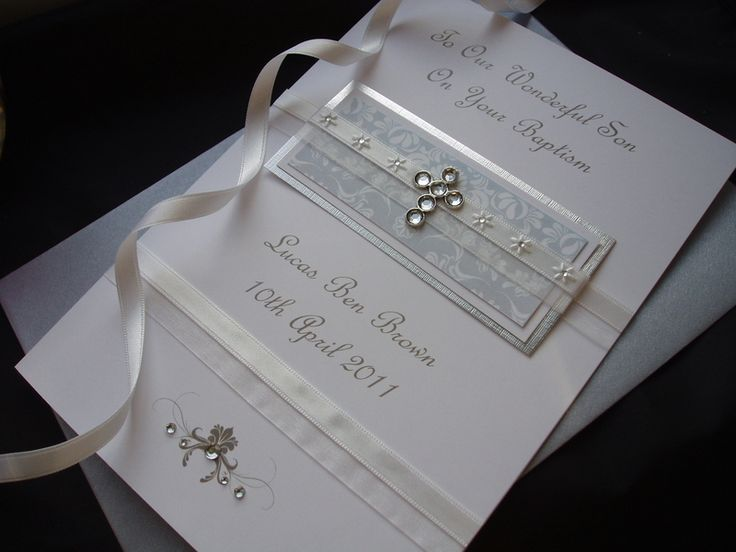 Diamante Cross Christening / Naming / Baptism Card