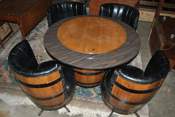 Vintage Whiskey Barrel Dinette Set Card Table By