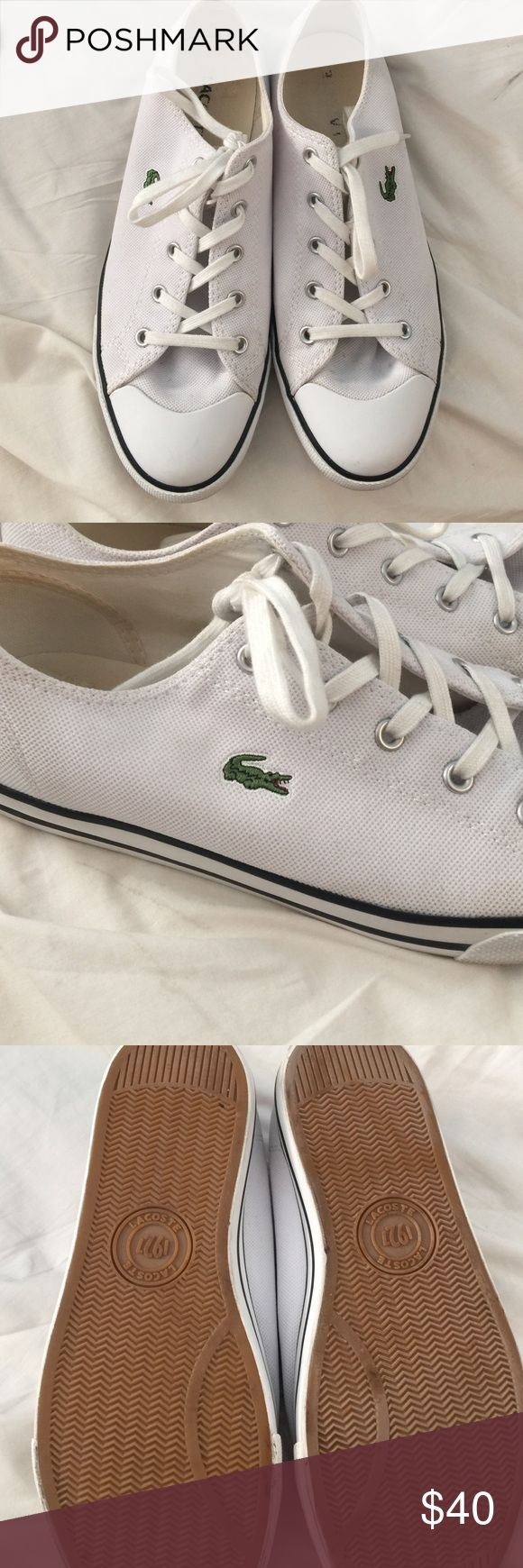 Lacoste Sneakers White Converse style Lacoste Sneakers with side logo. Preloved but still lots of life left. Lacoste Shoes Sneakers
