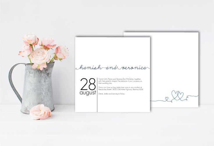 A personal favourite from my Etsy shop https://www.etsy.com/au/listing/256566307/white-and-navy-wedding-invitations-navy