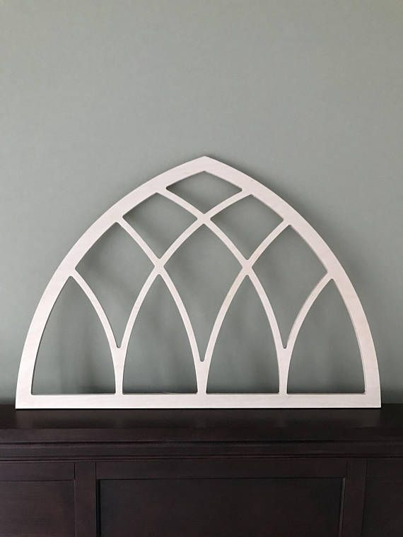 Vintage Inspired Gothic Arched Window Frame Wood Church Screen