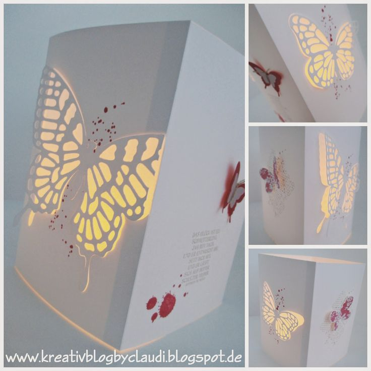 www.kreativblogbyclaudi.blogspot.de: Windlicht mit Schmetterlingen