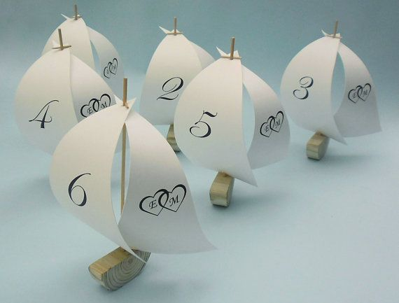 rustic sailboat table numbers or place card by ThirdCloudToTheLeft, $24.00