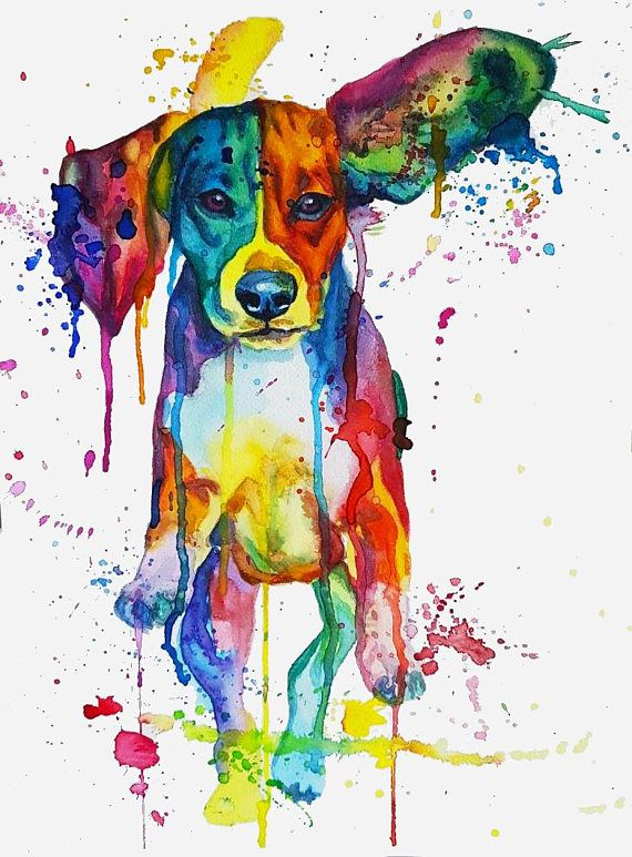 Watercolor Colorful Rainbow Flying Ears Running Beagle Painting