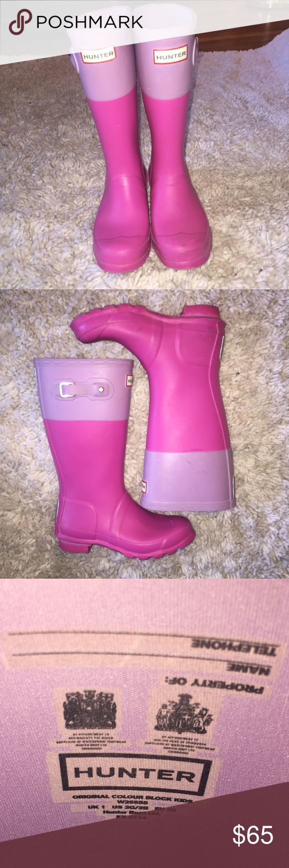 Girls' Hunter boots...Size 3 Girls' Hunter boots...pink with purple band around the top...Size 3 from a smoke free home! Hunter Shoes Rain & Snow Boots