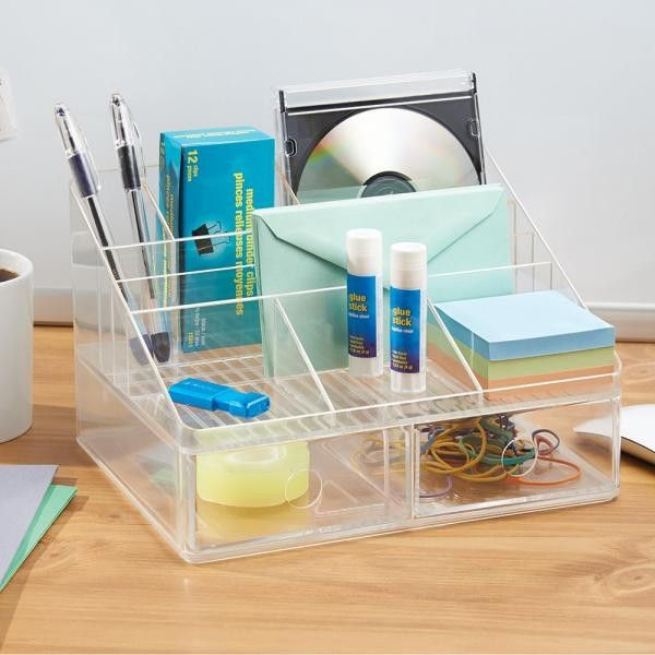 """Linus Desk Organizer with Drawers - Clear Dimensions: 10""""L x 7.6""""D x 6.4""""H Material: Plastic Color: Clear 8 Sections 2 Drawers Great for Office Desk"""