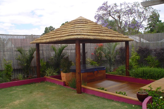 The African Thatch balinese hut is made from cape reed tiles. It can get up to 15 degrees cooler under an African thatch and also acts as a natural insulator, making it the perfect outdoor gazebo for the cool and hot months. These come with or without decks. This size: 3 x 3.