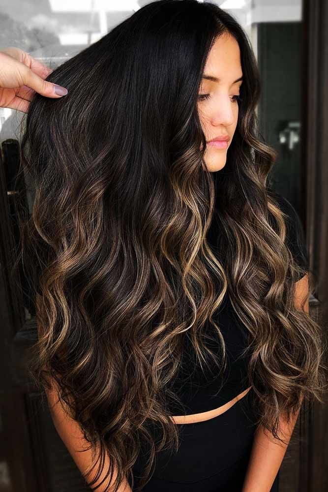 45 Ideas To Freshen Up Your Hair Color With Partial Highlights Hair Color For Black Hair Black Hair Balayage Dark Hair With Highlights