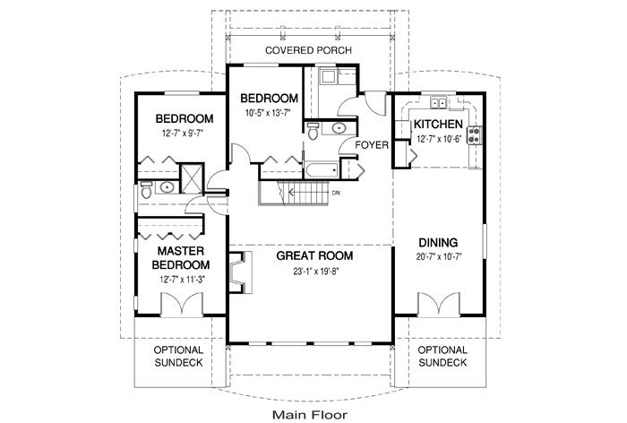 Linwood Custom Homes Floor Plan: 3 Bedroom 2 Bathrooms - sonoma-floor-plan