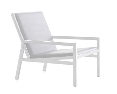 Chalk White powder coated aluminium , matching Batyline padded stretch sling base for ultimate comfort and softness, Due February 2015Simple...neutral....modernThe perfect balcony or occasional chair to compliment the Coastal Collection