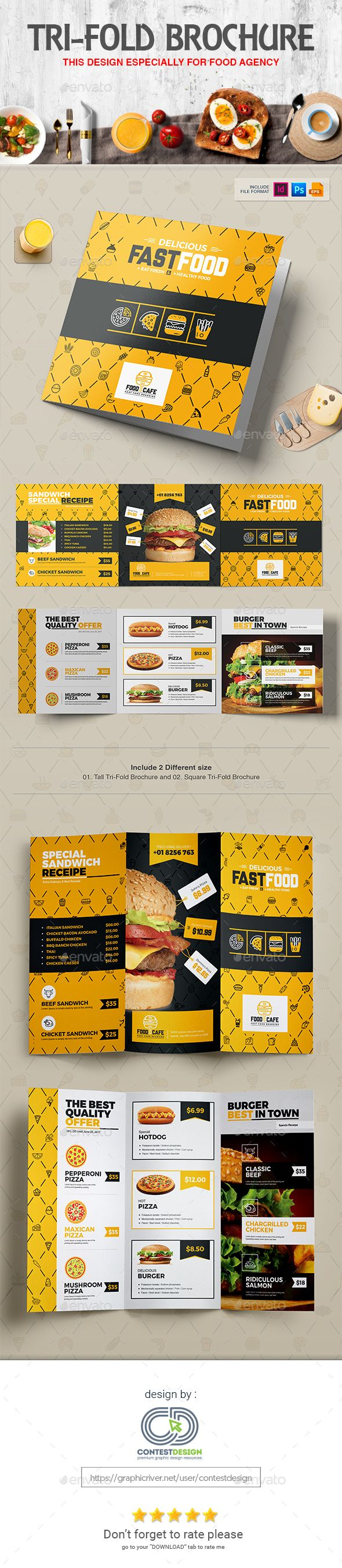 Tri-Fold Brochure (Square & Tall) Design Template for Fast Food / Restaurants / Cafe - Templates PSD, Vector EPS, InDesign INDD, AI Illustrator
