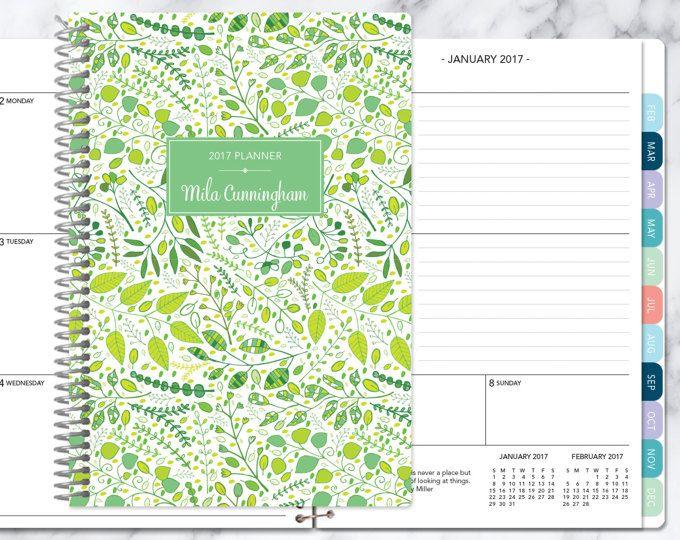 kalender van 2017 planner Kies start maand | maandelijkse tabbladen per student planner gepersonaliseerde agenda daytimer toevoegen | groene bladeren wijnstokken