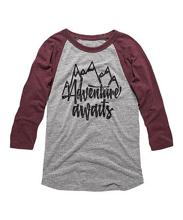 Love this Vintage Burgundy 'Adventure Awaits' Raglan Tee on #zulily! #zulilyfinds