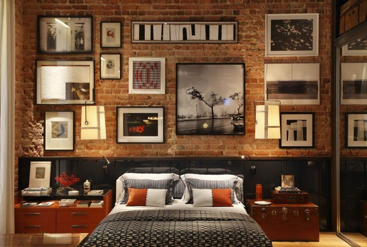 Decorations Inspiration. Picturesque Exposed Brick Wall Design For Comely And Flossy Interior: Inspirational Natural Master Bedroom Design Interior With Grand Fake Exposed Brick Wall Feat Wall Art Display Also Master Bed Added Custom Headboard Storage Ideas