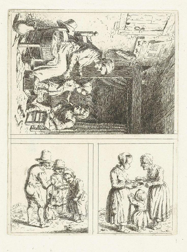 Christina Chalon | Drie voorstellingen van het gezinsleven, Christina Chalon, 1758 - 1808 | Eerste voorstelling speelt zich af in het interieur van een slaapkamer. Een moeder helpt haar kinderen bij het ochtendtoilet. Ze vetert het jurkje van haar dochter. Haar zoontje trekt ondertussen zijn kousen aan. In de tweede voorstelling praat een jonge vrouw met een oudere vrouw. De jongere vrouw heeft een pan in beide handen. Een klein kind staat voor haar. In de derde voorstelling leert een oude…
