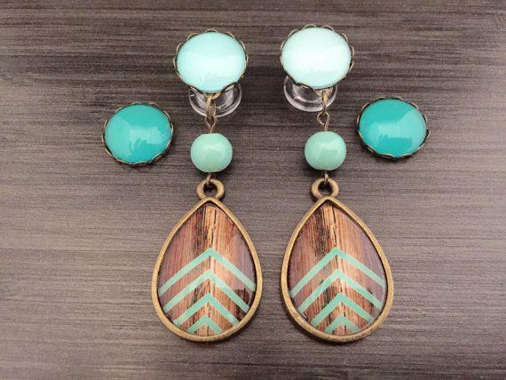 0g Dangle Plugs 4g, 2g Gauged Earrings Mint Cheveron Wood Pattern Teardop Plugs 6g Ear Plugs, Dangly Body Jewelry
