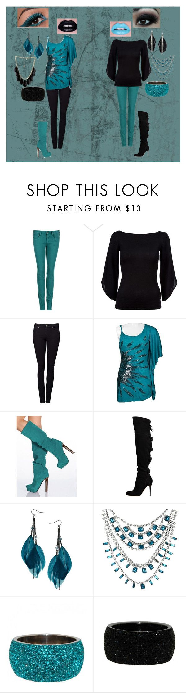 """""""black&teal"""" by faleur102 ❤ liked on Polyvore featuring CIMARRON, Ralph Lauren Black Label, Witchery, Miss Me, Victoria's Secret, Valentino, Dorothy Perkins, Lipsy, Kate Spade and Wet Seal"""