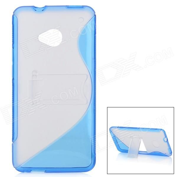 Quantity: 1 Piece; Color: Deep blue + translucent; Material: TPU + plastic; Compatible Models: HTC One / HTC M7; Other Features: Protects your device from scratches, shock and dust; Provides great angle for viewing, playing and typing w/ the stand; Allow access to interface w/o removing the case; Packing List: 1 x Protective back case; http://j.mp/1uOF3Jd