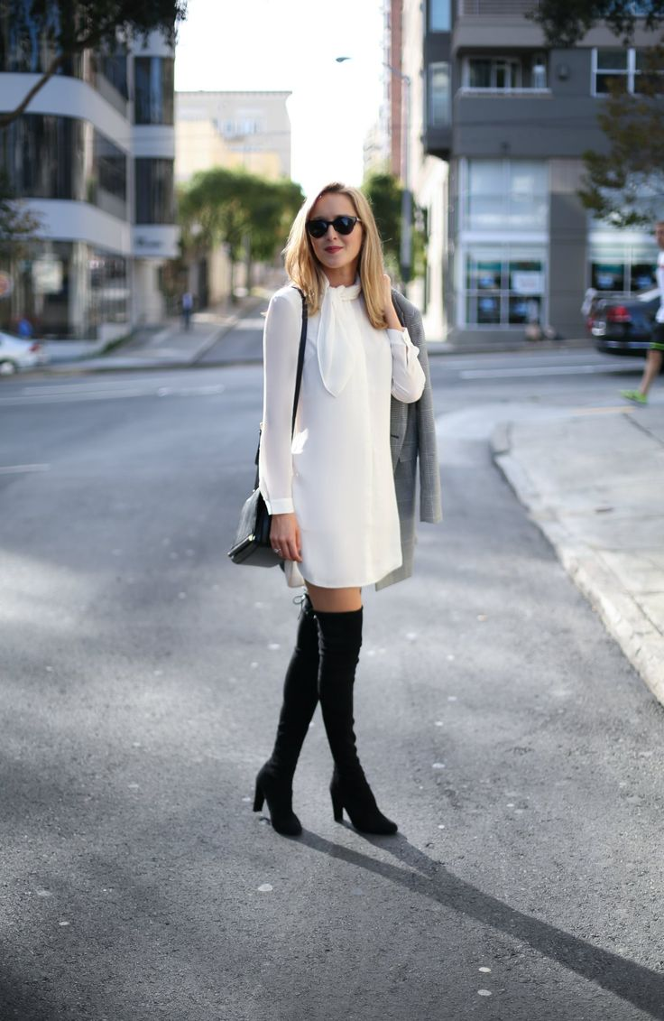 tie neck shirtdress with over the knee boots