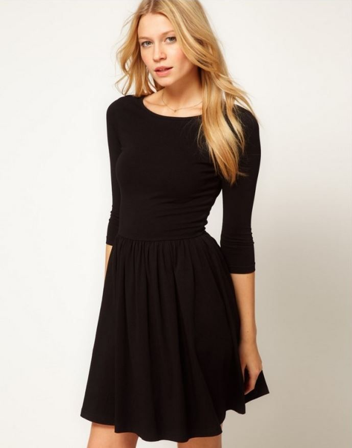 Lbd 3 4 Sleeve Fit Amp Flare Dress Partydress