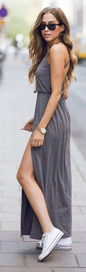 Grey Maxi + White Converse #casual #chic