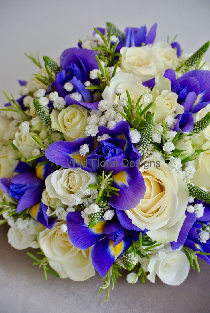 Iris brides bouquet, Roses, Veronica, Gyp and Rosemary.