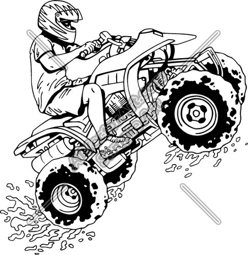 Coloring Four Wheelers Clip Art Sketch Coloring Page