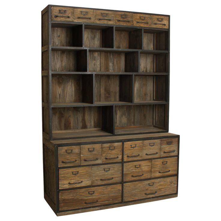Apothekerregal aus Teakholz / Pharmacy shelf from scrap wood. Hier drin findet alles Platz: Ihre Bücher, Büromaterial, Platzsets, Geschirr, Spielsachen und vieles mehr. Das schöne Apothekerregal aus wiederverwertetem Altholz ist eine Bereicherung für jedes Wohnzimmer. Das Apothekerregal besteht aus zwei Teilen: dem Schubladenschrank (H x B x T: 75 x 146 x 57 cm) und dem offenen Regal darauf (H x B x T: 138 x 146 x 35 cm). AVAILABLE AT The Harrison Spirit, Morgartenstrasse 22, 8004 Zürich