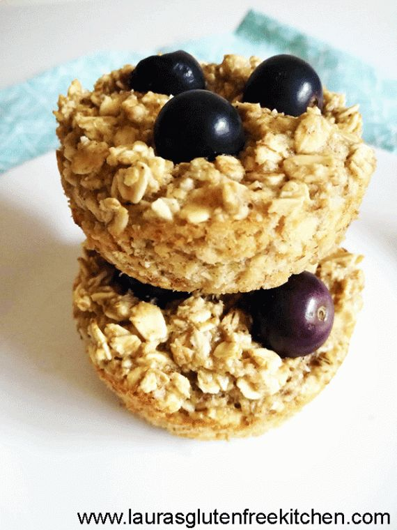 Gluten Free Blueberry Oat Cups --- These Gluten Free Baked Blueberry Oatmeal Cups make a tasty, easy and healthy on the go breakfast. They are moist and not too sweet and contain no flour.