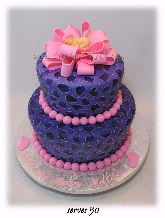 Leopard Print Baby Shower Cake