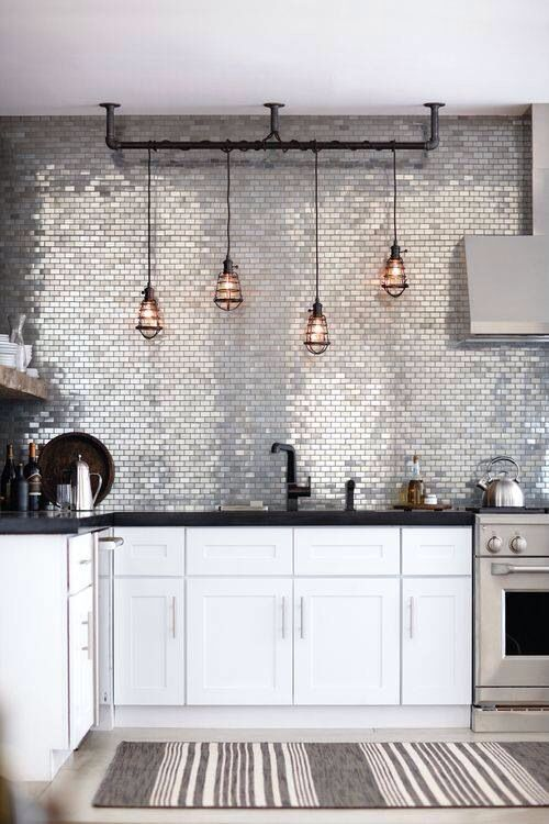 Great Lights On Kitchen Feature Wall Don T Know About The Silver Tiles Though Ideas Pinterest Design And Home Decor