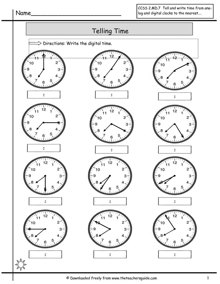 Kids are asked to read the hands on the clocks and write