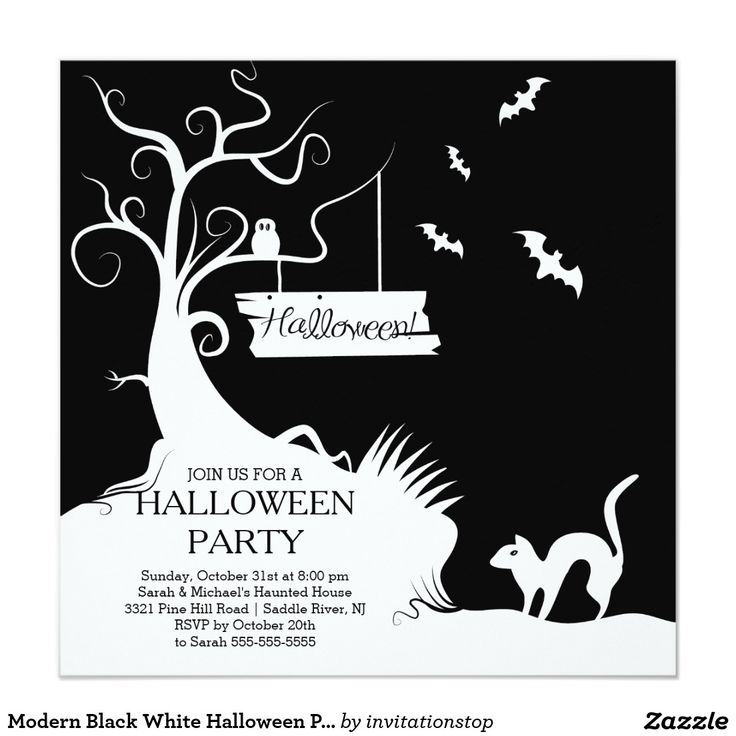 113 best trick or treat halloween party images on pinterest modern black white halloween party invitation stopboris Images