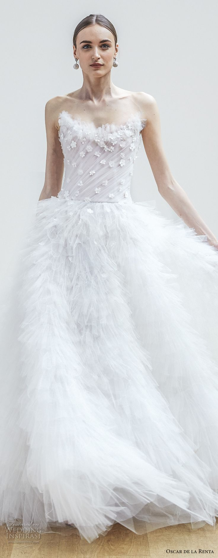 oscar de la renta spring 2018 bridal strapless sweetheart neckline heavily embellished bodice ruffled skirt romantic princess chapel train (01) zv -- Oscar de la Renta Spring 2018 Wedding Dresses
